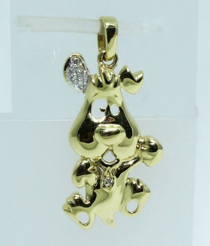 Pingente De Ouro 18k750 Cachorro Diamantes P517