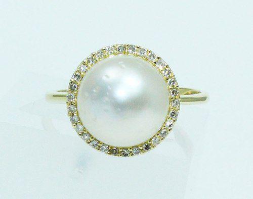 Anel De Ouro 18k750 Diamantes Pérola 1731