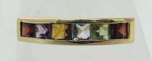 Um Anel De Ouro 18k750 Pedras Coloridas 109