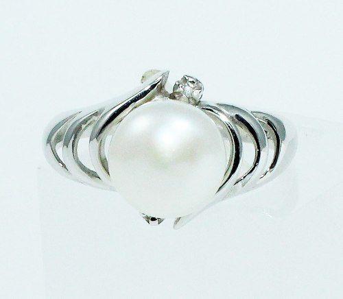 Anel De Ouro Branco 18k750 Pérola Diamantes 1706