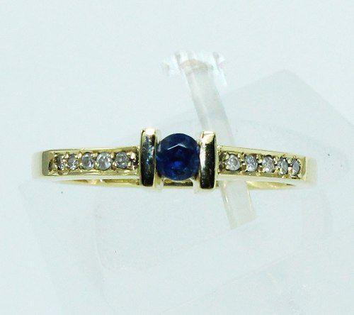 Anel De Ouro 18k750 Diamantes Safira 1698