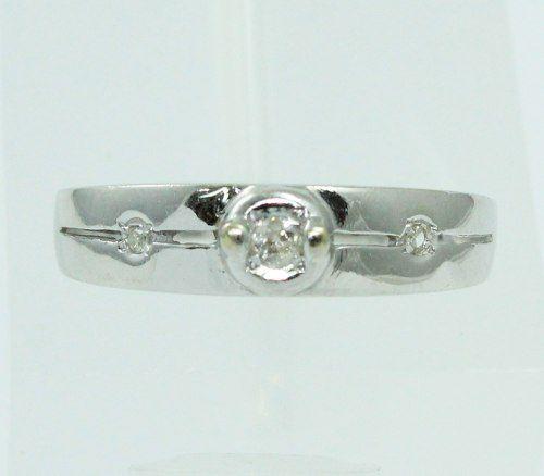 Anel De Ouro Branco 18k750 Diamantes 2222
