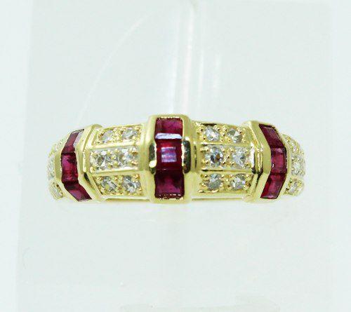 Anel De Ouro 18k750 Diamantes Rubis 2283