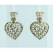 Brincos De Ouro 18k750 Diamantes Coração B636