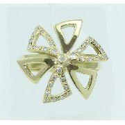 Anel De Ouro 18k750 Flor Diamantes 2203