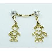 Pingente Ouro 18k750 Menino Menina Diamantes P613