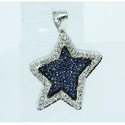 Pingente Ouro Branco 18k750 Estrela Diamante P598
