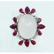 Anel De Ouro Branco 18k750 Diamantes Rubi 1928