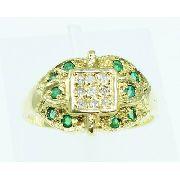 Anel De Ouro 18k750 Diamantes Esmeralda 1831