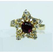 Anel De Ouro 18k750 Diamantes E Ametista 1796