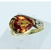 Anel De Ouro 18k750 Diamantes Citrino 1763