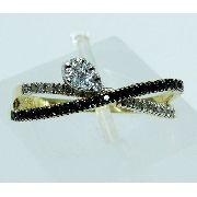 Anel De Ouro 18k750 Diamantes Ônix 1670