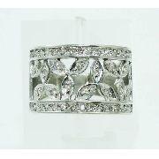 Anel De Ouro Branco 18k750 Diamantes 2336