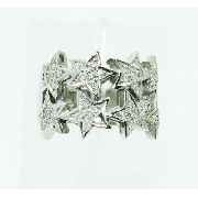 Anel De Ouro Branco 18k750 Estrela Diamantes 2338