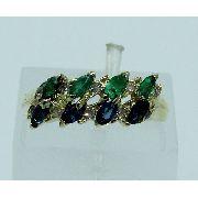 Anel Ouro 18k750 Diamantes Safira Esmeralda 1546