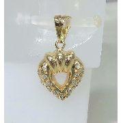 Pingente De Ouro 18k750 Coração Diamantes P280