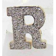 Pingente De Ouro 18k750 Letra R Diamantes P114