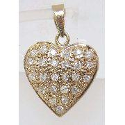 Pingente De Ouro 18k750 Coração Diamantes P161