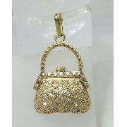 Pingente Ouro 18k Bolsa Bolsinha Diamantes P244