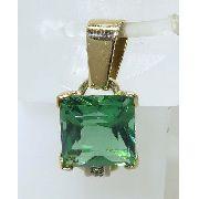 Pingente Ouro 18k750! Peridoto Diamantes P131