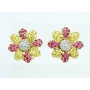 Brincos De Ouro 18k750 Flor Diamantes Rubi B767