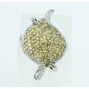 Anel De Ouro Branco 18k750 Diamante Safiras 2173