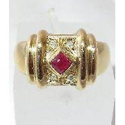 Anel De Ouro 18k750 Diamantes Rubis 1222