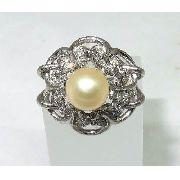 Anel De Ouro Branco 18k750 Diamantes Pérola 1161