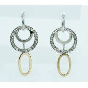 Brincos De Ouro Branco 18k750 Diamantes B709