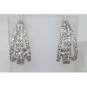 Brincos De Ouro Branco 18k750 Diamantes B406