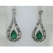 Brincos De Ouro 18k Esmeraldas E Diamantes B405