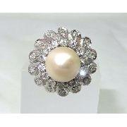 Anel Vintage De Platina Com Diamantes Pérola 1047
