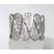 Anel De Ouro Branco 18k750 Pave Diamantes 727