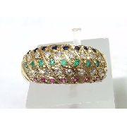 Anel De Ouro 18k750 Diamantes Rubis E Safiras 953