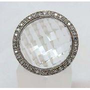 Anel De Ouro Branco 18k750 Diamantes Cristal 705