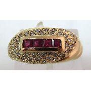 Anel De Ouro 18k750 Diamantes E Rubis 711