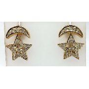 Brincos De Ouro 18k750 Diamantes Estrela Lua B270