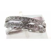 Anel De Ouro Branco 18k750 Diamantes 598