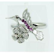 Anel Ouro Branco 18k750 Diamantes Ametistas 647