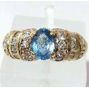 Anel De Ouro 18k750 Design Diamantes Topazio 691