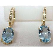 Brincos De Ouro 18k750 Diamantes E Topázios B285