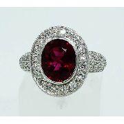 anel De Ouro Branco 18k750 Diamantes Turmalina 766