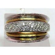 Anel De Ouro Branco 18k750 Diamantes 710