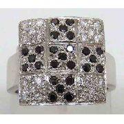 Anel De Ouro Branco 18k 750 Diamantes 733