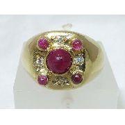 Anel Ouro 18k750 Diamantes Rubis 516