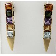Brincos De Ouro 18k750 Pedras Coloridas B164