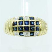 Anel De Ouro 18k750 Diamantes Safiras 2504