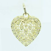 Pingente De Ouro 18k750 Coração Diamantes P711