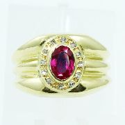 Anel De Ouro 18k750 Rubi Diamantes 2552