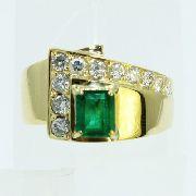 Anel De Ouro 18k750 Diamantes Esmeralda 2592